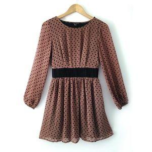 Modcloth Long Sleeve Brown Polkadot Chiffon dress